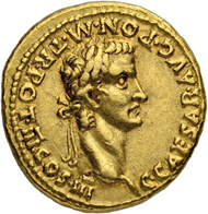 Lot 108: Roman Empire. Caligula. Aureus 40, with Divus Augustus. Lugdunum. Attractive coin with splendid colour and almost extremely fine. Estimate: 30'000 CHF.