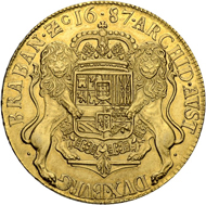 Lot 3142: Belgium. Flanders. Charles II. 8 Souverain d'or 1687, Bruges. Very rare and magnificently conserved coin. Extremely fine-uncirculated. Estimate: 30,000 CHF.