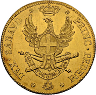 Lot 3482: Italy, Savoy/Sardinia. Vittorio Amedeo III. Carlino da 5 Doppie 1786. Turin. Very rare coin in better than average condition. Extremely rare-uncirculated. Estimation 35'000 CHF.