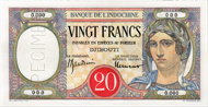 Lot 7163: French Territories/Somaliland. 20 Francs o. J. Specimen. Extremely rare and very attractive. Estimate: 1'000 CHF.