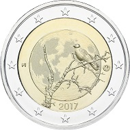 2-Euro coin as a tribute to Finland's beautiful nature – a Finnish crow sitting on a bald tree. Design by Kari Auvinen.