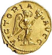 Lot 1070: Tetricus I, 271-274. Aureus, 273/4, Cologne. Extremely rare. Extremely fine. Estimate: 50,000,- euros. Hammer price: 80,000,- euros.