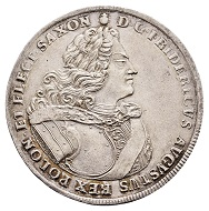 296 / Lot 2637: Saxony. Friedrich August I, 1694-1733 ('Augustus the Strong'). Reichstaler no date. (1705), Dresden. On the restauration of the Polish Order of the White Eagle. Very rare. Extremely fine. Estimate: 25,000,- euros. Hammer price: 30,000,- euros.