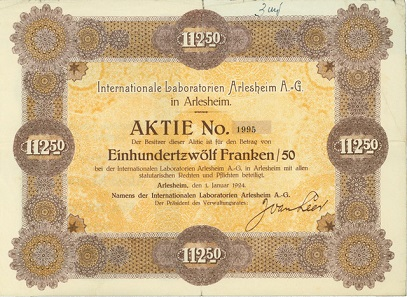 Lot 7663: Int. Laboratories Arleshaim AG (today WELEDA). Stock for SFr 112.50 1924. Hammer price: SFr 3'400.
