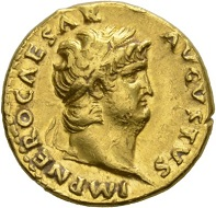 Nero. Aureus, Rome, 66/7. Rv. SALVS Salus enthroned l., holding patera in extended r. hand. RIC 66. Insignificant marks on the rim. Almost extremely fine. Estimate: 2.500 CHF. From the Galba Collection, Hess-Divo sale 333 (November 30, 2017), No. 85.
