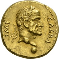 Galba, 68-69. Aureus, Tarraco(?), April-late 68. GALBA – IMP Laureate head r. Rv. ROMA - VICTRIX Roma standing l., with spear and branch. RIC 44var. Unpublished variant(?) Very fine. Estimate: 10,000 CHF. From the Galba Collection, Hess-Divo sale 333 (November 30, 2017), No. 101.