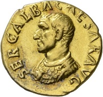 Galba, 68-69. Aureus, Rome, July 68-January 69. Rv. SALVS GEN – HVMANI Salus standing l., sacrificing with patera over burning altar, holding rudder in l. arm. RIC 147. Extremely fine. Estimate: 10,000 CHF. From the Galba Collection, Hess-Divo sale 333 (November 30, 2017), No. 135.