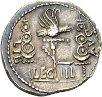 Clodius Macer. Denarius, North Africa, 68. L CLODI MACRI / SC Bust of Victoria r. Rv. LIB AVG Legionary eagle between two standards, below LEG – III RIC 15. One of the great rarities of Roman coinage: Less than 10 specimens of this type are known to exist. Extremely fine. Estimate: 25,000 CHF. From the Galba Collection, Hess-Divo sale 333 (November 30, 2017), No. 87.