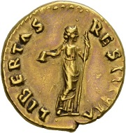Vitellius, 69. Aureus, July 68-January 69. Rv. LIBERTAS – RESTITVTA Libertas standing r., holding scepter and pileus. RIC 104. Almost extremely fine. Estimate: 10,000 CHF. From the Galba Collection, Hess-Divo sale 333 (November 30, 2017), No. 163.