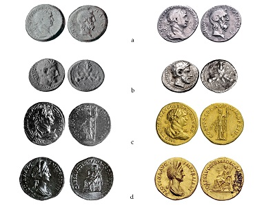 "Coins from the ""Benghazi Treasure"". On the left, their photos from some publications on excavations made in Cyrenaica; on the right, the same pieces appeared in various auctions catalogue: a) Meliu 1935, tav. I, n. 7 / Roma Numismatics Ltd, E-Sale 21 (31 October 2015), lot 510. b) Meliu 1938, p. 49 / CNG, Electronic Auction 308 (7 August 2013), lot 208. c) Pesce 1950, fig. 122 / Hess-Divo AG, Auction 327 (22 October 2014), lot 121. d) Pesce 1950, fig. 122 / Hess-Divo AG, Auction 326 (28 May 2014), lot 103."