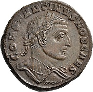 Lot 6142: Roman Imperial times. Maximianus I Herculius for Constantinus I. Follis, 306/307, Aquileia, 3rd off. Almost extremely fine. Estimate: 100 euros. Hammer price: 900 euros.