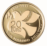San Marino / 20 Euros / Gold .900 / 6.451 g / 21mm / Design: Antonella Napolione (obverse) and Andrew Lewis (reverse) / Mintage: 500.
