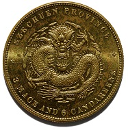 3 Mace and 6 Candareens Coin, United States for China, 1902.
