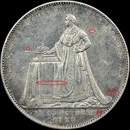 The reverses of two counterfeit 1825 Bavaria Coronation Thalers.