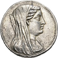 58 - Ptolemies in Egypt. Berenice, wife of Ptolemy III, 246-222 BC. Attic pentekaidekadrachm, Alexandria(?). Uncirculated. Estimate: CHF 25,000. Hammer price: CHF 50,000.