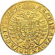584 - Holy Roman Empire. Ferdinand III, 1625-1637-1657. 10 ducats 1645, Vienna. Very rare. Extremely fine. Estimate: CHF 50,000. Hammer price: CHF 100,000.