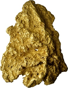 723 - Gold nugget from Western Australia in high fineness. 3,787g of gold. Accompanied by a certificate of the University of Bern. Estimate: CHF 200,000. Hammer price: CHF 260,000.