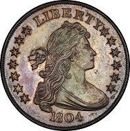 The most valuable U.S. rare coin purchased at auction in 2017 was the Dexter/Pogue 1804 Class I Draped Bust silver dollar (BB-304), PCGS Proof 65, sold by Stack's Bowers Galleries for $3,290,000. Image courtesy of Stack's Bowers Galleries.