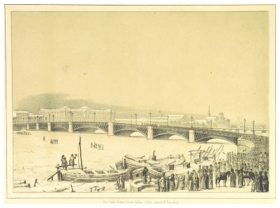 The bridge over the Neva. Image from 1853.