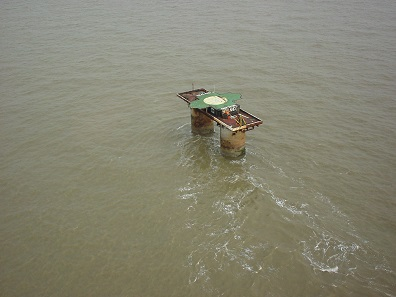 Sealand from above, a disused Maunsell Sea Fort in the North Sea approximately 12 kilometres off the coast of Suffolk. Photo: Ryan Lackey / CC BY 2.0