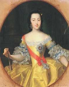 The young Catherine II at the age of approx. 16 years. Painting by Georg Christoph Grooth.