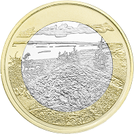 Averse and reverse of the five-euro coin series. The first image will be the same as on the earlier two-euro emission and also show Koli National Park.