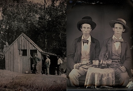 Left: Unknown photographer. Exterior view of Aron Perley's house and four gold miners. 1850. Daguerreotype. 1/4 plate (8.3 x 10.8 cm). // Right: Unknown photographer. Portrait of two unidentified young men drinking liquor. c. 1850. Daguerreotype. 1/6 plate (8.3 x 7 cm).