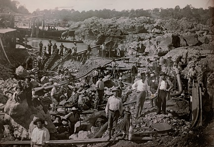 G.H. Johnson. Outdoor view of a large mining operation on the North Fork American River. c. 1852. Daguerreotype enhanced with gold. Full plate (16,5 x 21.6 cm).