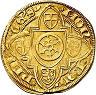 Konrad III. von Dhaun, 1419-1434. Gold gulden without date (1420/21), Bingen. Very fine. Estimate: 400,- euros. From Künker auction 305 (21 March 2018), No. 3778.