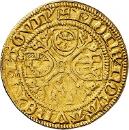 Dietrich II. von Isenburg zu Büdingen, 2nd rule 1475-1482. Gold gulden without date (1475/6), Mainz. Rare. Very fine. Estimate: 500,- euros. From Künker auction 305 (21 March 2018), No. 3787.