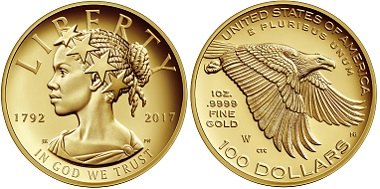 The American Liberty 225th Anniversary Gold Coin, issued in 2017. © United States Mint.