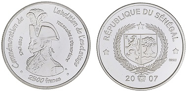 "Commemorative coin. Issued by Senegal. Inscription ""Commémoration de l'abolition de l'esclavage"" with image of Toussaint L'Ouverture (1743-1803), 2007 © the Trustees of the British Museum."