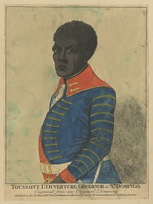 Williamson & Parsons, Toussaint L'Ouverture, Governor of St. Domingo. Hand-coloured etching, 330mm x 377mm, 1802 © the Trustees of the British Museum.