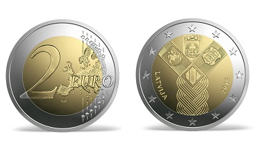 The new coin showing the three Baltic sigils emerging from a common cord.