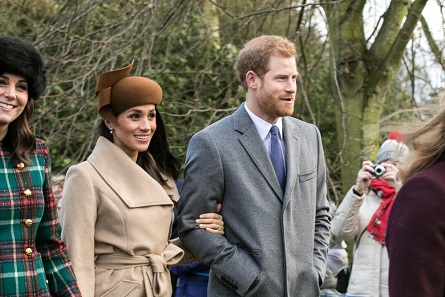 Prince Harry and Meghan Markle with other members of the Royal family going to church at Sandringham on Christmas Day 2017. Photo: Mark Jones / CC BY 2.0