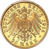 No. 2156. German Empire. Bavaria. Ludwig III, 1913-1918. 20 mark 1914. Only known specimen in this condition. PCGS PR66 D CAM. Proof. Estimate: 15,000 euros.