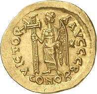 A solidus of Basiliskos from the Bundesbank Collection. Photo: Deutsche Bundesbank, Numismatische Sammlung.