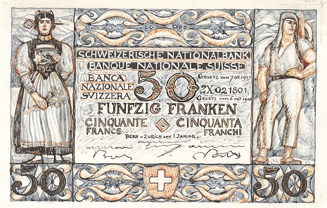 The front of Edmond Bille's design. Photo: Swiss National Bank.