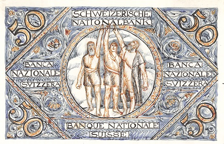 The painter from Neuchatel submitted two motifs for the back. This one features the Rütli Oath. Photo: Swiss National Bank.