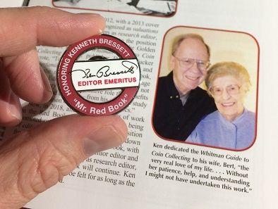 A pin made in the honor of Kenneth Bressett. The picture on the right shows him and his wife Bert.