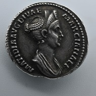 Silver coin depicting Matidia, niece to Trajan and mother-in-law to Hadrian. Source: Northeast Normal University.