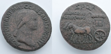 A brass coin with Agrippina on the averse and a horse cart on the reverse. The inscription reads MEMORIAE AGRIPPINAE. Source: Northeast Normal University.