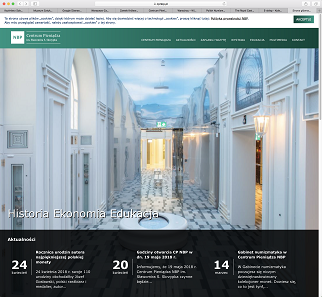 The exhibition of the Polish National Bank, a multimedia center for education regarding money. A screenshot of the museum's website.