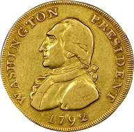 This 1792 Gold Eagle was probably presented to George Washington and carried by him as a pocket piece. Photo: Numismatic Guaranty Corporation.