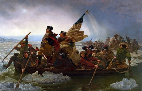 Crossing the Delaware (by Emanuel Leutze, 1851) shows George Washington as man of action who contributed enormously to the foundation of the United States.