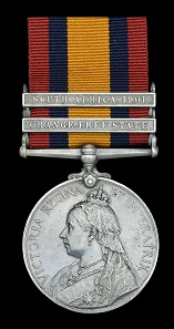 Lot 621: Queen's South Africa 1899-1902, 2 clasps, Orange Free State, South Africa 1901 (240 Tpr. W. Collidge. Farmer's Gd.) edge bruising, nearly very fine, scarce to unit. From A Collection of Queen's South Africa Medals to Colonial Units. Estimate: 160-200 GBP.