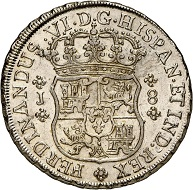 No. 1272: Chile. Fernando VI, 1746-1760. 8 reales 1758, Santiago. Extremely rare. Outstandingly well-struck specimen. Very fine to extremely fine. Estimate: 25,000 euros. Price realized: 32,000 euros.
