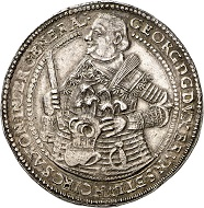 No. 2306. Brunswick-Calenberg-Hanover. George, 1636-1641. Double reichstaler 1641, Zellerfeld, on his death. Extremely fine to FDC. Estimate: 20,000 euros. Price realized: 34,000 euros.