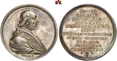 Papal vestments and accessories like the tiara are often shown on numismatic items as these three specimens (not in the exhibition) show from the 18th to the 20th centuries: A silver medal from Augsburg made in 1782 to commemorate the visit of Pope Pius VI. From Künker auction 305 (2018), 2960.