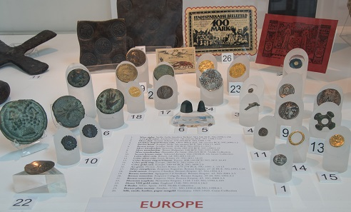 A collection of European coins and other means of payment. Photo: What is Money exhibition, University of Calgary